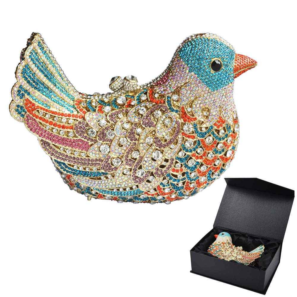 popular luxury evening bags Sparkly Crystal women Clutch bags Colorful Bird pattern Ladies dinner bags Clutches