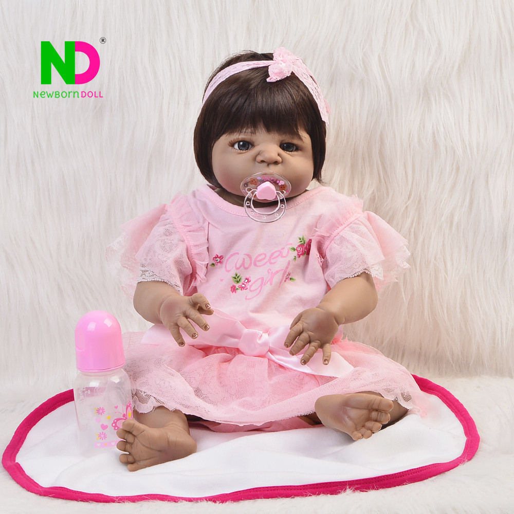 23'' Reborn Realista Silicone Vinyl Full Body Doll Reborn Real Like Bonecas Girl Baby Toys Playmates For Kids Birthday Gift 23 russian silicone reborn baby girl full body vinyl dolls touch real baby dolls lifelike real hair new 2017 kids playmates