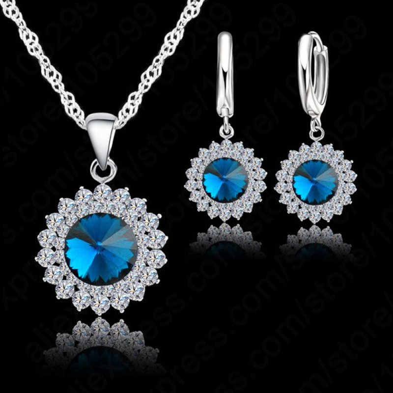 925 Sterling Silver With Cubic Zircon Sun Flower Pendant Necklace+Lever Back Earring Woman Party Jewelry Sets 6 Colors