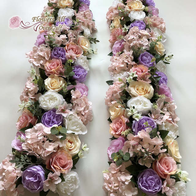 Us 1670 3d Artificial Silk Arch Flower Row Rose New Hydrangea Leaf Table Flower Runner Wedding Party Decoration In Artificial Dried Flowers From