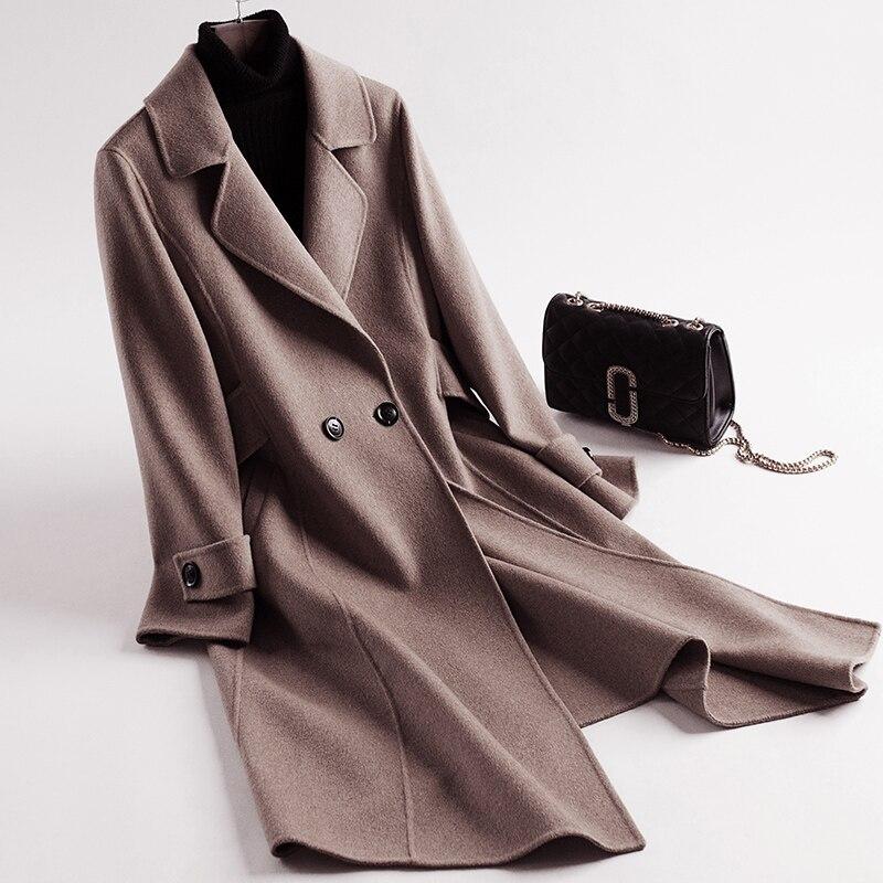 2018 Mujer Femmes Laine Blue Abrigos Automne Long khaki Hiver Outwear Femelle coffee Double Veste Face Inviernolx2535 Manteau 100 Tops R1A6wqx1