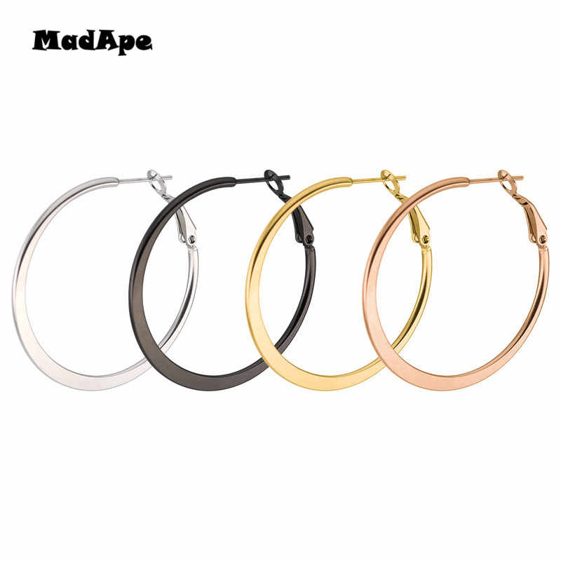 MadApe 2019 Fashion Exaggerated Titanium Stainless Steel Hoop Earrings For Women Round Flattened Hoops Earrings Jewelry
