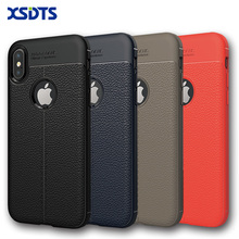 XSDTS For iPhone 8 Phone Case For iPhone 7 Plus Case For iPhone X Brushed Genuine Leather Soft TPU For iPhoen 6 6s SE Cover Back
