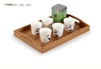 1PC 2016 bamboo tea tray Garden rectangular glass tray tray wood plate fruit plate food dinner storage tray JL 0913