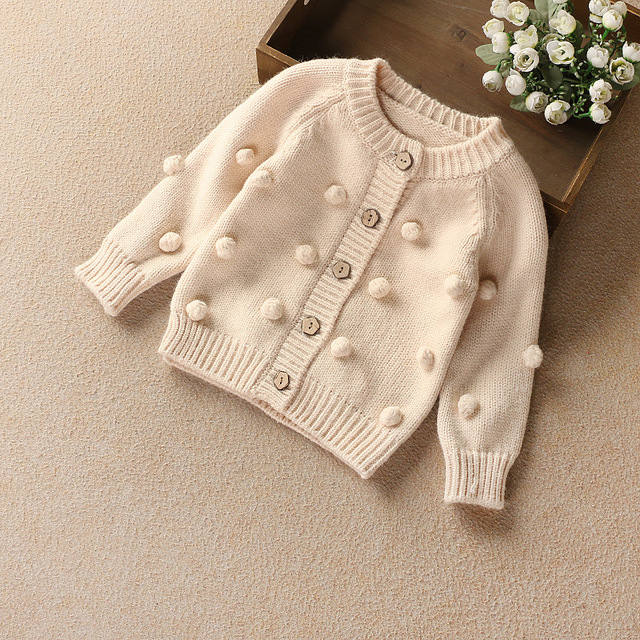 57686f3b6668 Everweekend Kids Girls Cute Balls Buttons Western Fashion Cardigans ...