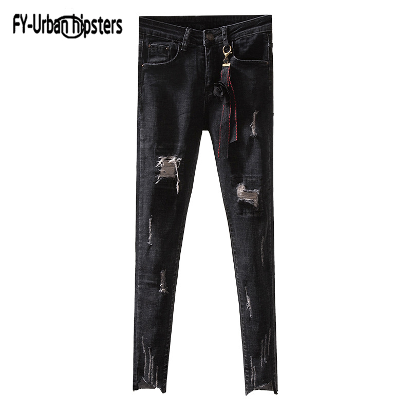 Asymmetrical Straight Women holes nine Jeans Ribbon mid Waist Korean Washed Denim Jeans Female ripped stretch jeans for women