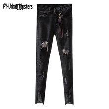 Gerade Jeans neun Gewaschen