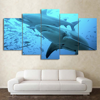 프레임이없는 5 Panels 깊은 블루 바다 그림 큰 상어 HD 인쇄 캔버스 아트 현대 벽 거실 홈 장식