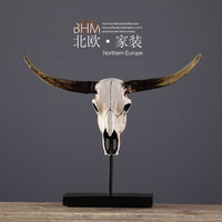 The decoration of natural resin animal ornaments Home Furnishing Decor cow skull soft outfit showroom decoration