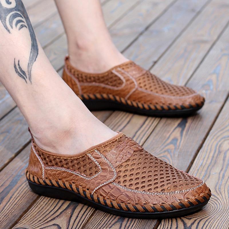2017 Sommer Atmungsaktives Mesh Schuhe Herren Casual Schuhe Aus Echtem Leder Slip Auf Mode Sommer Schuhe Mann Weichen Bequemen Xx-031