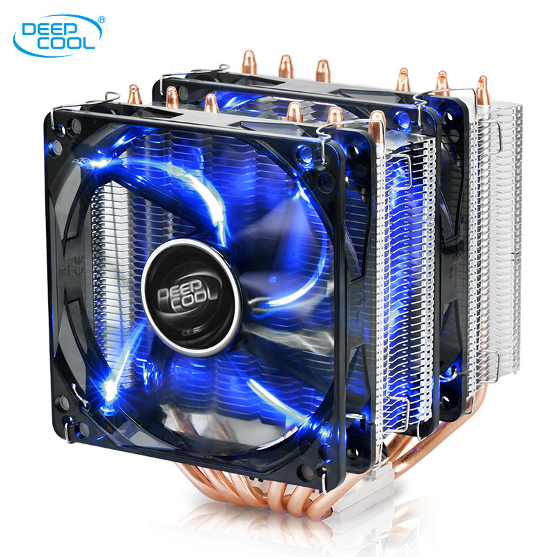 Deepcool 6 Copper Heatpipes CPU cooler for Intel 115X AMD AM3 AM4 CPU radiator 12cm Double LED Blu-ray cooling CPU fan PC quiet quiet cooled fan core led cpu cooler cooling fan cooler heatsink for intel socket lga1156 1155 775 amd am3 high quality