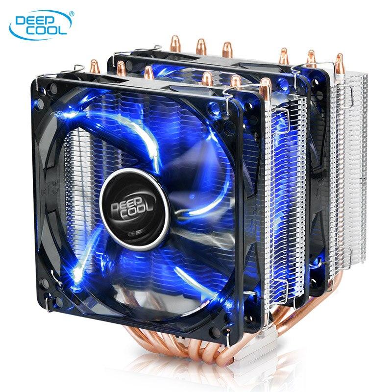 Deepcool 6 Heatpipes En Cuivre TDP150W refroidisseur de processeur Intel 115X AM4 CPU radiateur 12 cm Double LED Blu-ray refroidissement ventilateur CPU PC silencieux