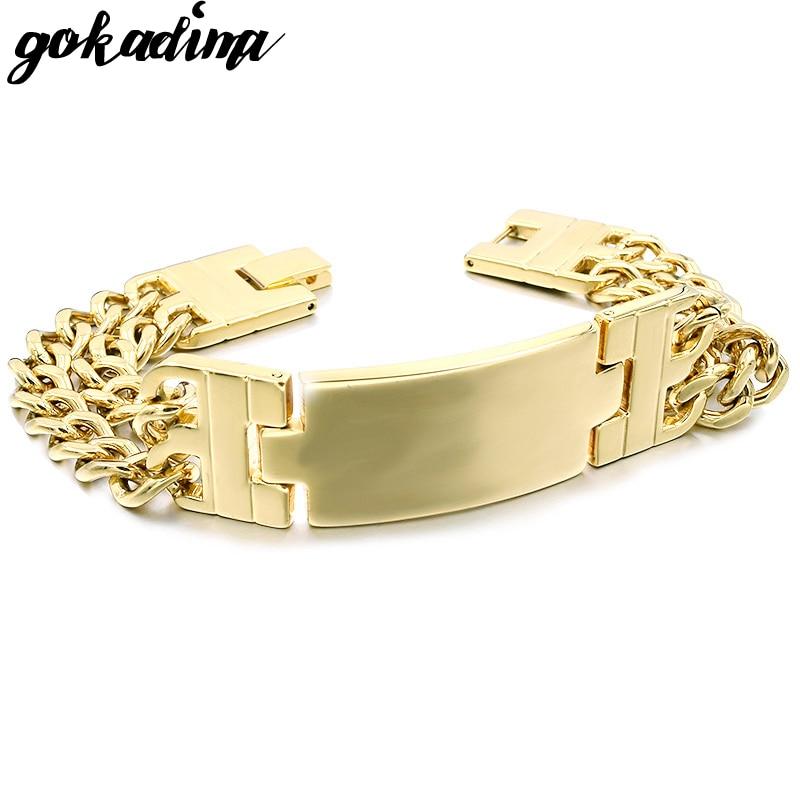 Gokadima Mens Stainless Steel Double Chain ID Bracelets & bangles Jewellery, Rock Biker, gift pulseras, WB107