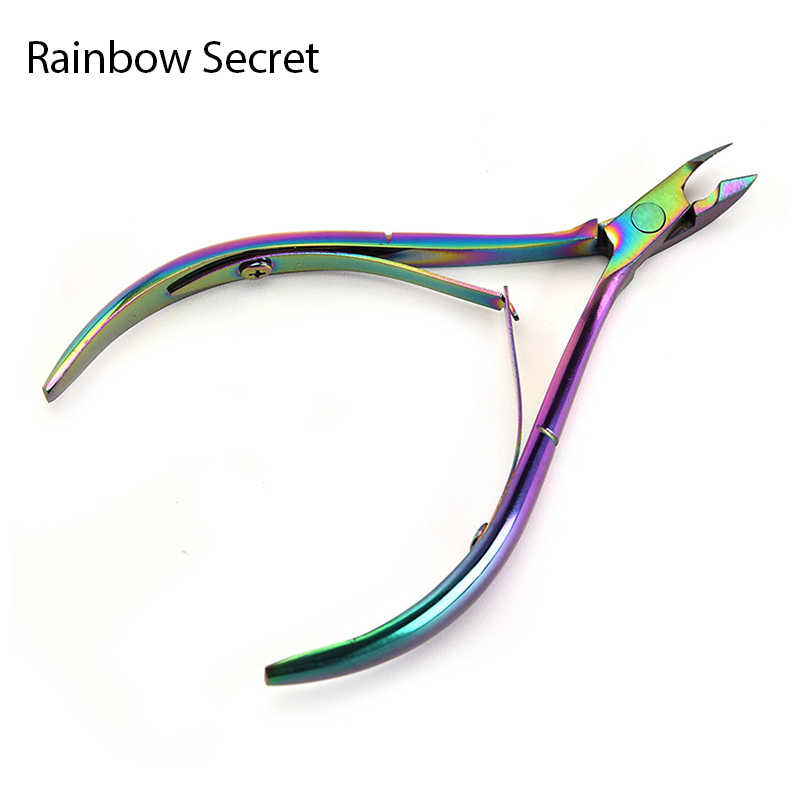 Cortador de uñas cutícula Arco Iris recorte de acero inoxidable cortador de uñas alicates de tijera transparente removedor de piel muerta