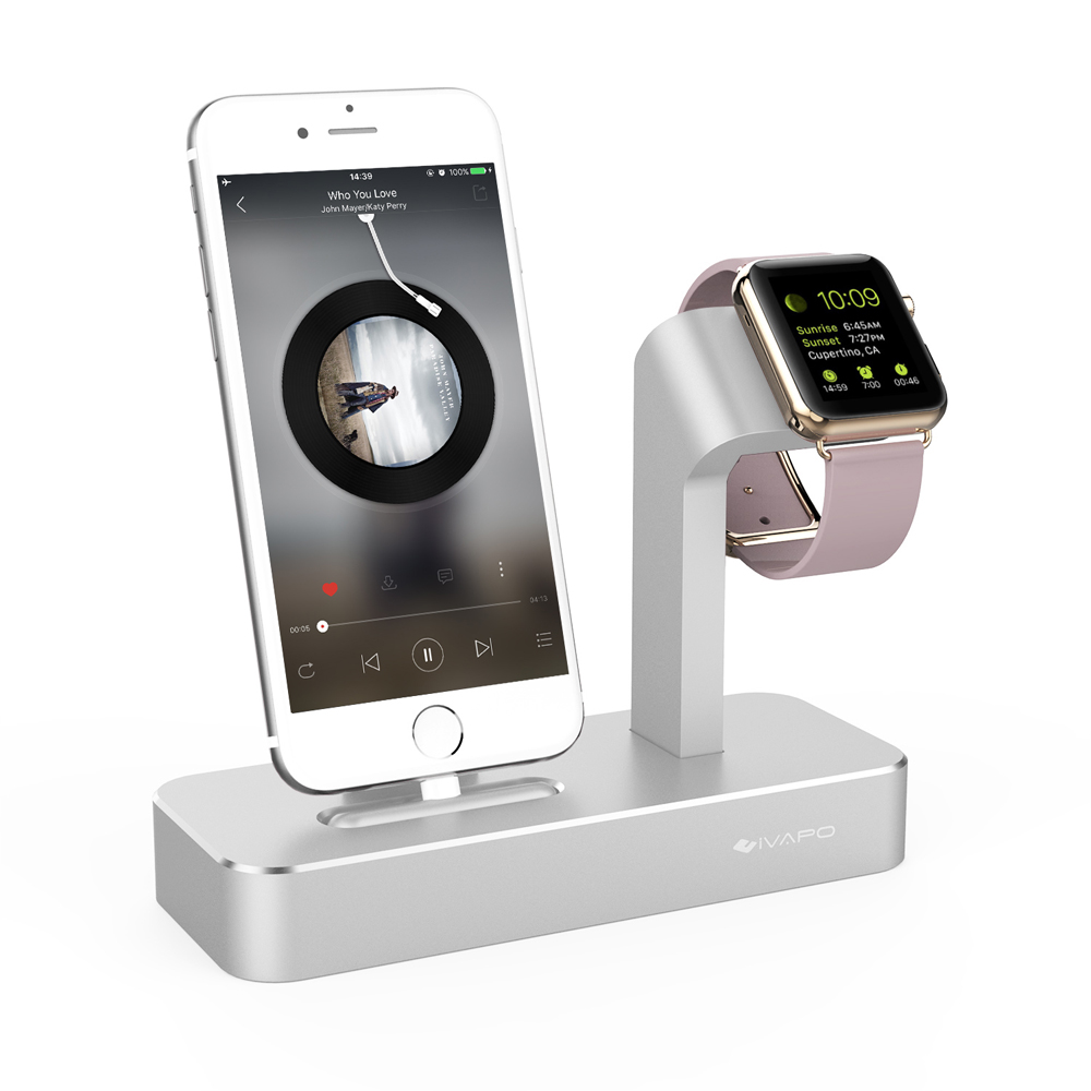 imágenes para Base de carga para apple watch ivapo soporte para iphone 5s 6 6 s 7/plus de aluminio estación de muelle del cargador para apple watch para iphone