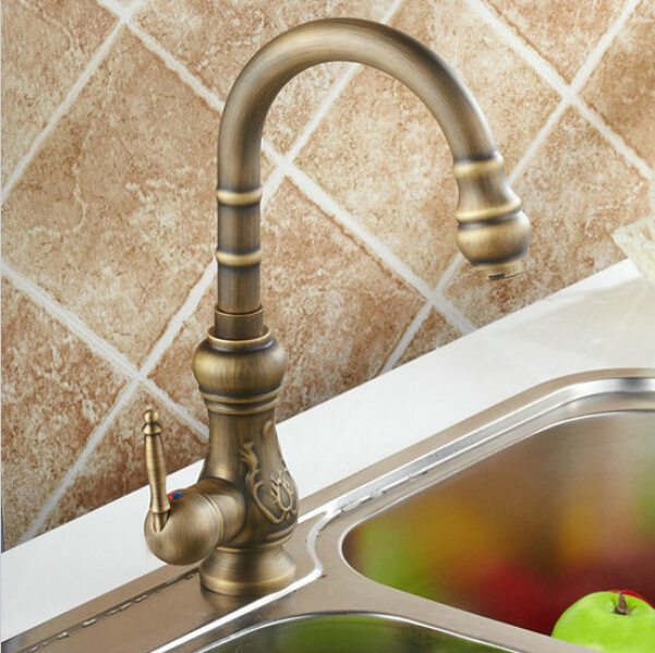 Kitchen Mixer Taps Antique Brass Finished Hot Cold Mixer Taps Deck Mounted Carving Faucet AF1007