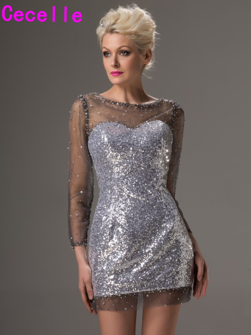 Sparkly Silver Sequins Long Sleeves Cocktail Dresse Sheer Neck Mini Fitted Prom Dresses Night Out Party Dresses Sexy Discount