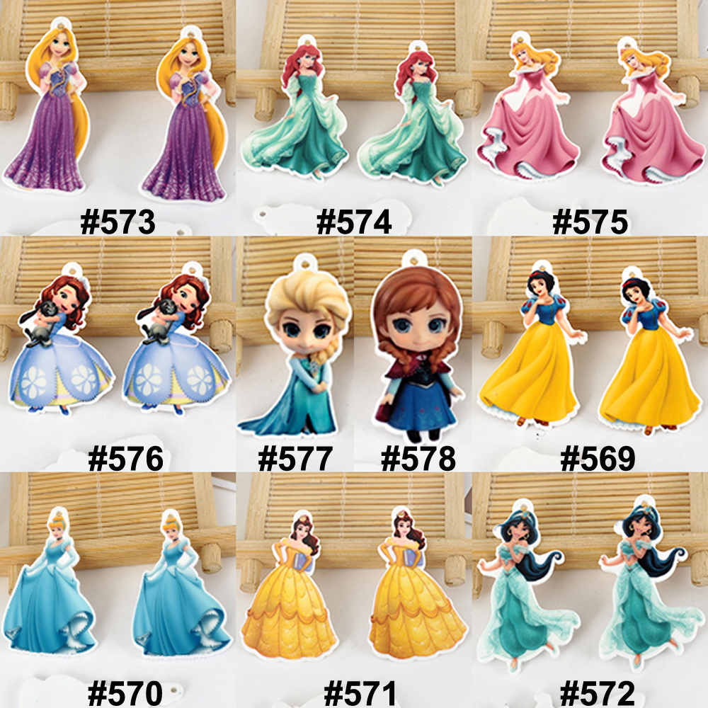 100pcs/lot 10 Designs Mixed Cartoon Princess Flatback Resin Charm Beautiful Girl Planar Resin Pendant DIY Craft Embellishments