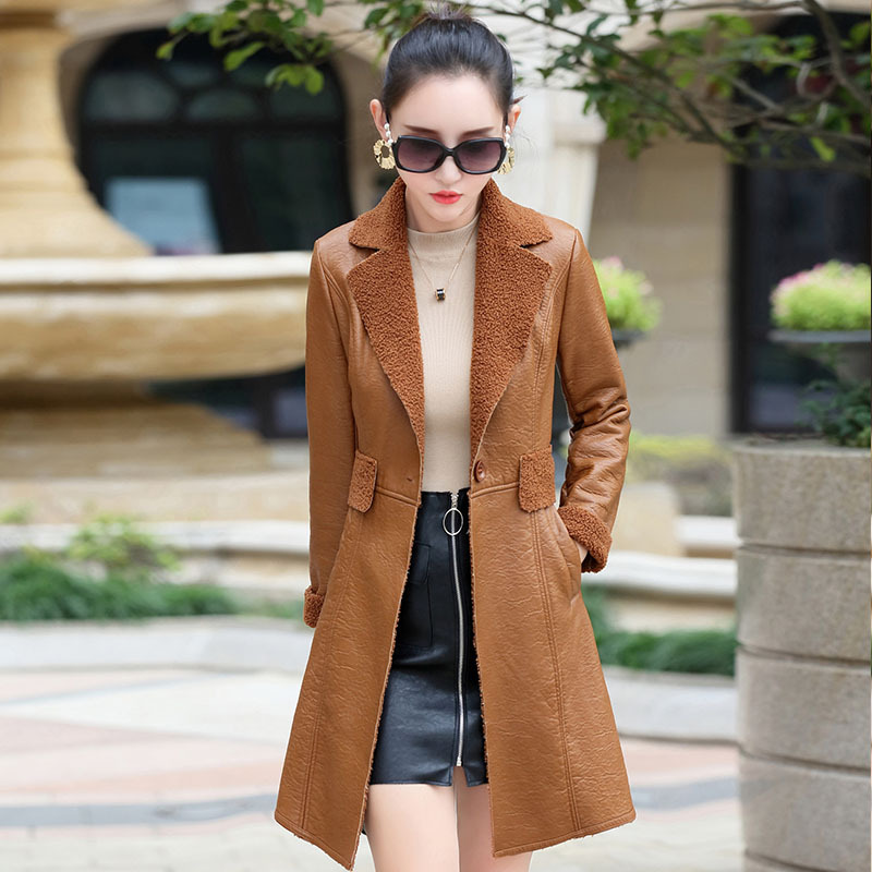 2018 Winter Womens Jacket Leather Coat Coat High Quality Korean Edition Brush Thicken Me ...