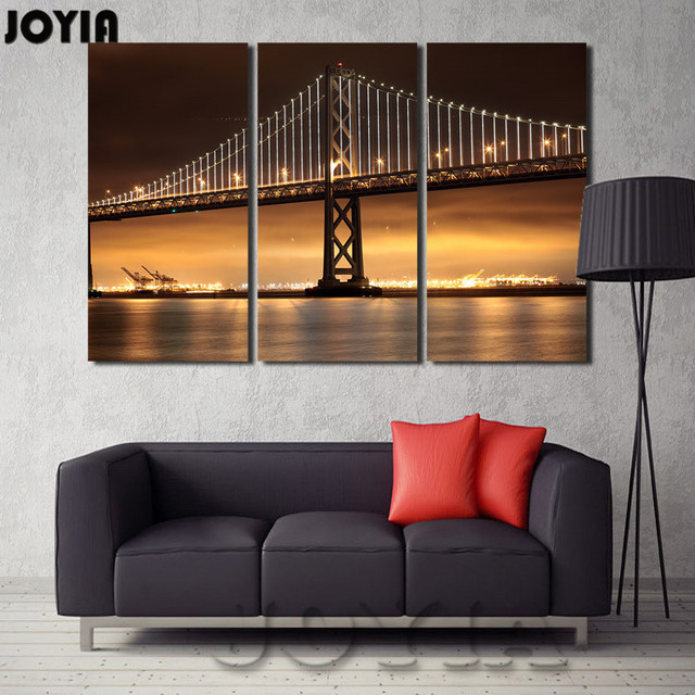 Decor Painting To Walls City Lights Wall Art Canvas Print Ben Franklin Bridge Abstract Night Landscape Pictures Triple No Frame