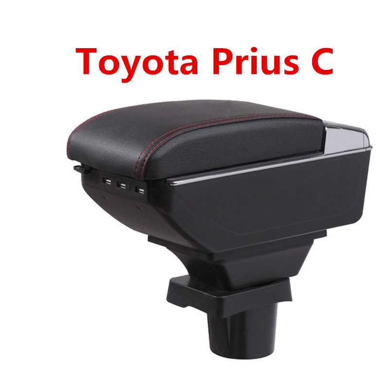 For ToyotaPrius C Prius C armrest box central Store content Storage box Aqua armrest box with cup holder ashtray USB interface for chery tiggo 2 3x 2016 2017 2018 armrest box central store content box with cup holder ashtray decoration with usb interface