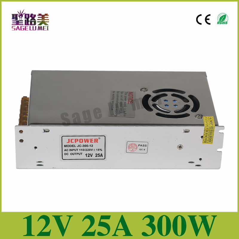 Free shipping DC12V 25A 300W Regulated Switching Power Supply Driver Transformers For LED Strip Lights Tape Lamp CCTV camera