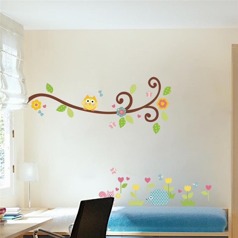 bhos tree flowers wall stickers nios dormitorio del cuarto de nios de la historieta decal