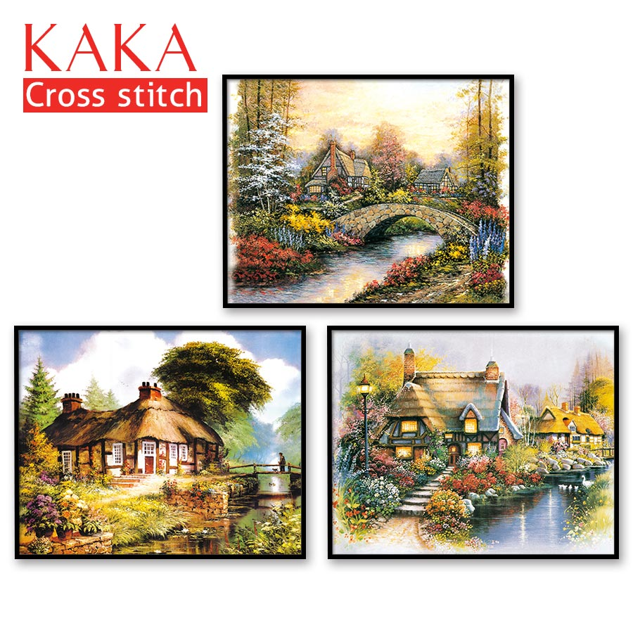 Cross Stitch Kits,Embroidery Needlework Sets With Printed Pattern,11CT-canvas For Home Decor Painting,Landscape Full NCKS029