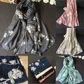 embroidery Retro Floral Flower style Long Wrap Women's Shawl Cotton winter Scarves Wraps
