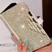 Luxe Bling Strass Diamant pour samsung galaxy S6 Note4 Note2 Note3 S6 Bord S5 i9600 S4 S3 portefeuille flip en cuir Crystal case