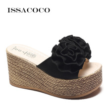 ISSACOCO Women Summer Mid Heel Flower Slippers Non-slip Breathable Indoor Wedge Soles Flat Zapatillas
