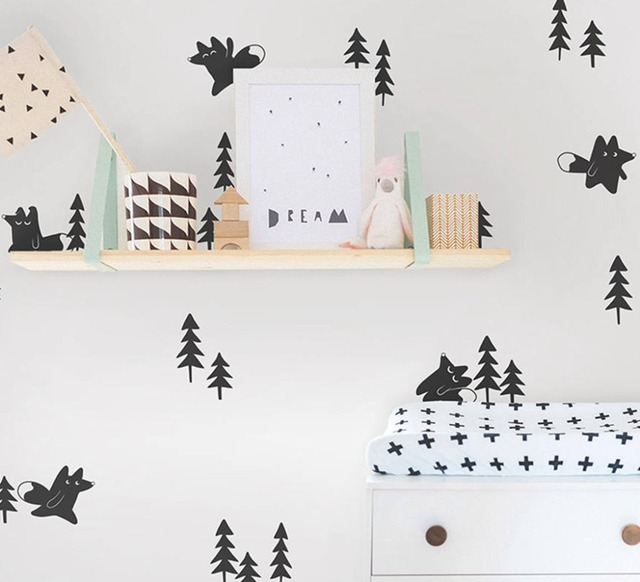 forest foxes and pine trees wall decals art decor , woodland animal