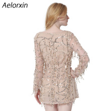 Aelorxin 2017 Summer Dress Women Sexy Sequin Tassel Beach Party Short Dress V-neck Vintage Office Dress Female Vestidos Bohemia