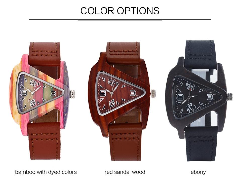 ALK leather strap female male wooden wristwatch 33