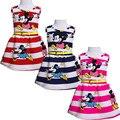 Nuevo Bebé Niños Chicas Princesa Vestido de Fiesta de Cumpleaños Sin Mangas Mickey Franja de Vacaciones de Verano Vestido 2-7Y