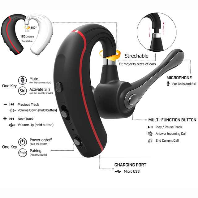 Honshoop V8 Business Bluetooth Headset stereo Noise Cancelling bluetooth earpiece Handsfree Wireless Earpiece For smartphone