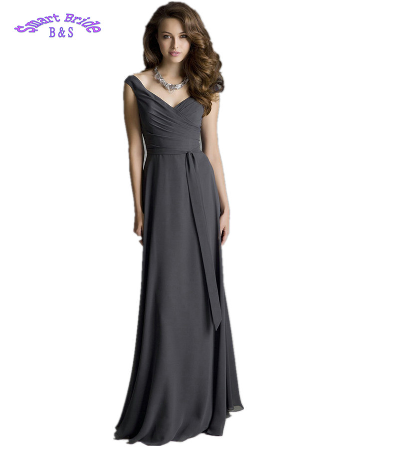 Smart Bride Long Chiffon   Bridesmaid     Dresses   V-neck Wedding Party Gowns for Women A-line Open Back XHBD13