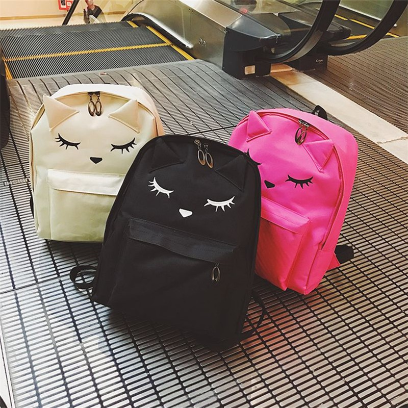 Embroidery Cat Printing Backpack Canvas Backpacks For Teenage Girls College Style Backpack Super LOVELY