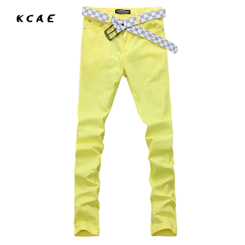 2017 New Fashion Jeans Men Print Solid Color Slim Trousers Casual Straight Brand Design Skinny Pants Hot Sale