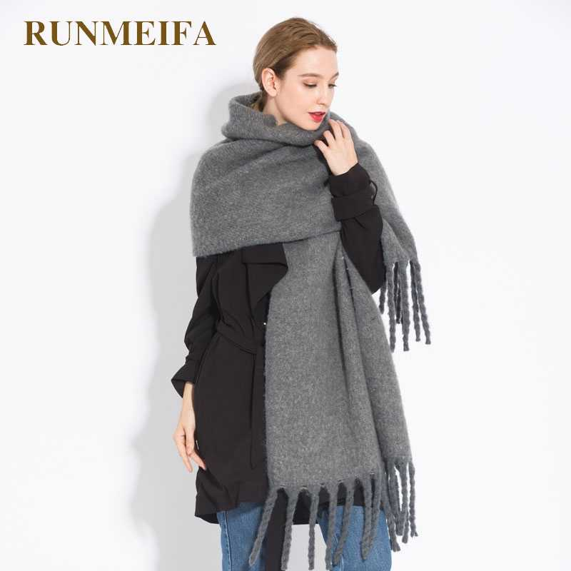 0a8877ea928a0 [RUNMEIFA] The brand new women shawl scarf autumn winter generous sjaals  fashion acrylic gray