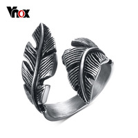 Mens Womens Stainless Steel Ring Vintage Feather In Black Silver Jewelry