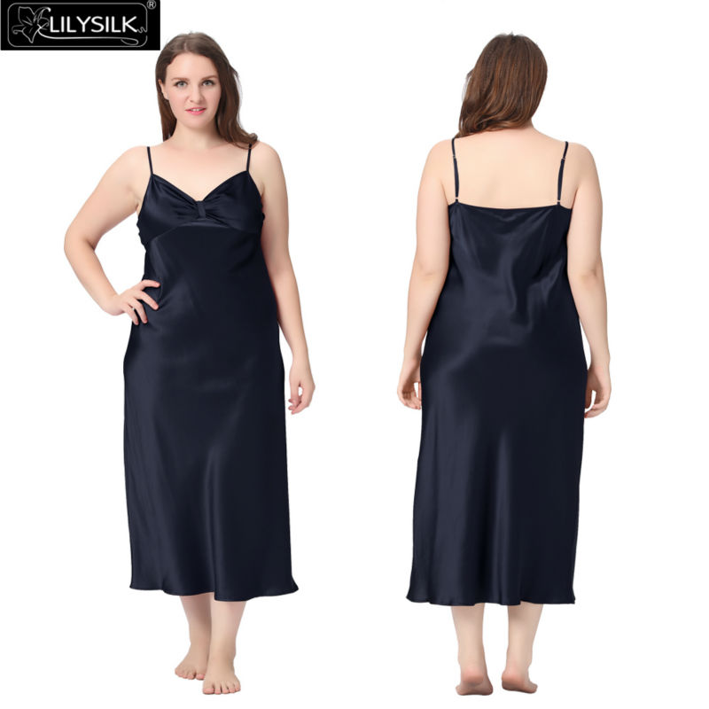 1000-navy-blue-22-momme-gathered-bowknot-neck-silk-nightgown-plus-size-01