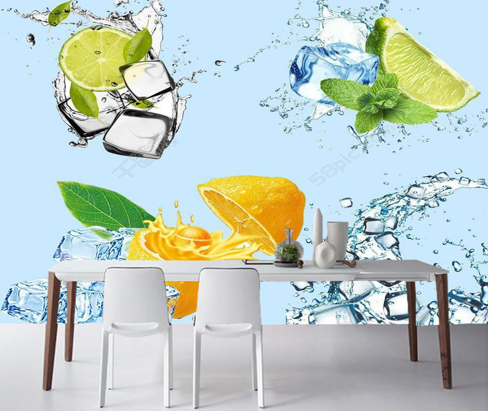 Modern photo wallpaper, ice cubes and fruit,3d natural mural for living room restaurant dessert shop background papel de parede эдуард хиль людмила гурченко иосиф кобзон анне вески нани брегвадзе валентина толкунова песни русского застолья mp3