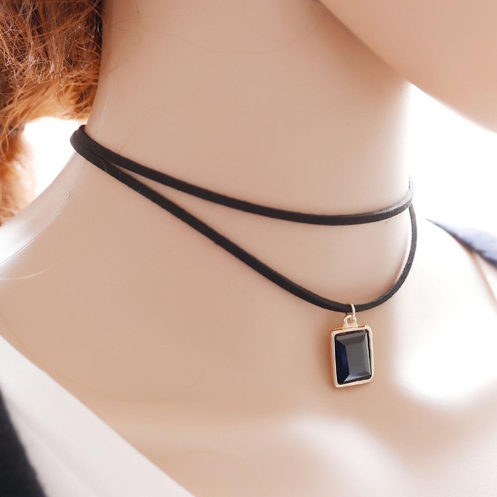 Punk Gothic Black Retro Leather Choker Collar Necklace Crystal Pendant