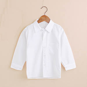 Plain White Baby Boys Shirts Children Clothes Classic Shirt For Boy Top Kids Tee Shirts Cotton Girl Jumper Solid Student Uniform