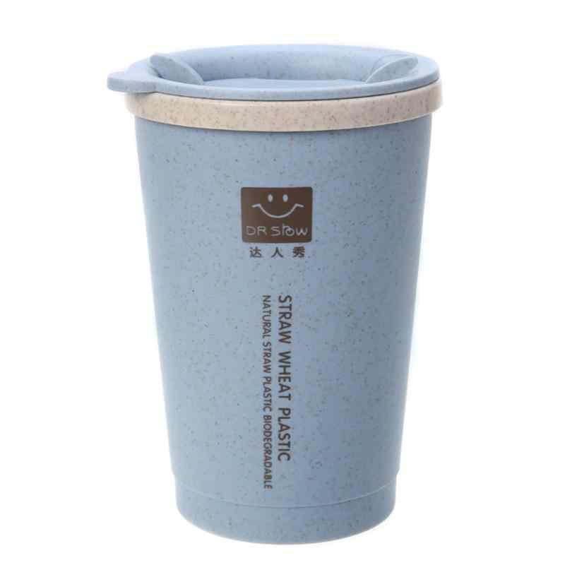 280ML Double-wall Insulation Wheat Fiber Straw Coffee Cup Travel Mug Leakproof