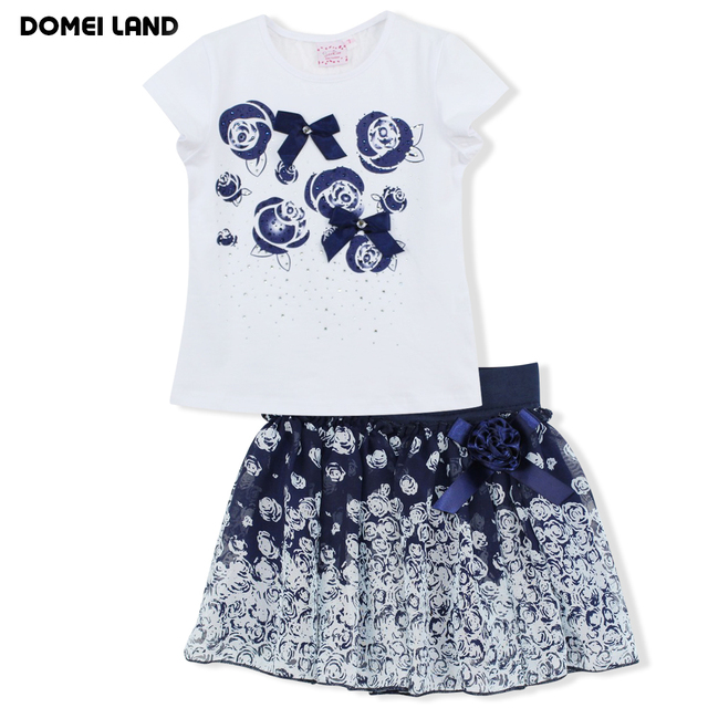 2017 fashion domeiland summer children clothing sets kids girl outfits floral short sleeve cotton shirts with skirt baby clothes