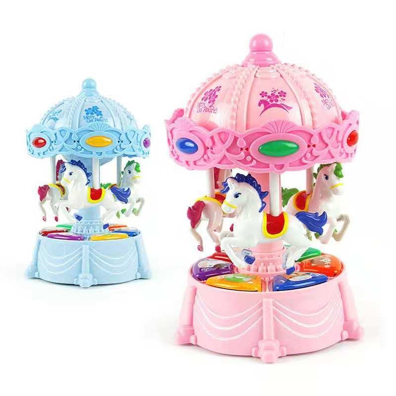 Joyeux aller jouets ronds, mini carrousel musical électronique cheval coloré flash lumière musique jouet enfant jeu whirligig décor à la maison