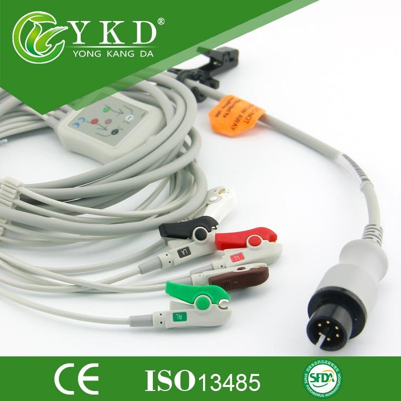 Jednodílný 6 kolík 5 vede kabel EKG a vodiče s klipem pro BCI, AHA standrad