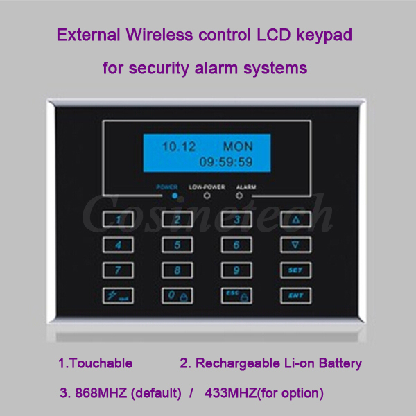 ФОТО Wireless remote control LCD display Two-way keypad, External Password  keypad for alarm systems, default 868MHZ, optional 433MHZ